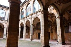 BOLOGNA, ITALY -FEBRUARY 08, 2017:  Archiginnasio palace , Unive. BOLOGNA, ITALY -FEBRUARY 08, 2017:  courtyard of Archiginnasio palace , University of Bologna Royalty Free Stock Photography