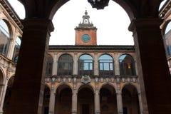 BOLOGNA, ITALY -FEBRUARY 08, 2017:  Archiginnasio palace , Unive. BOLOGNA, ITALY -FEBRUARY 08, 2017: tower and courtyard of Archiginnasio palace , University of Royalty Free Stock Photography