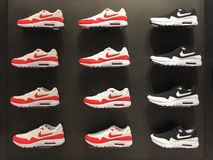 BOLOGNA, ITALY - FEBRUARY 16 2014: Exposition of nike sport shoe Stock Images