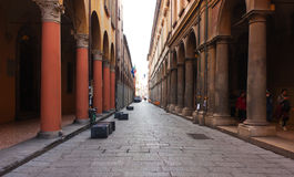BOLOGNA, ITALY -FEBRUARY 08, 2017: Street with arches ,of Archig Stock Photo