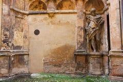 BOLOGNA, ITALY -FEBRUARY 08, 2017:University of Bologna, via Mar. BOLOGNA, ITALY -FEBRUARY 08, 2017:old street with arches ,of Archiginnasio palace , University Royalty Free Stock Image