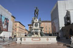 Bologna, Italy, Fountain of Neptune in Neptune square. Bologna, Italy, Fountain of Neptune in Neptune central square royalty free stock photos