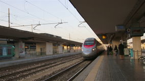 Bologna. Italy - January 2015 Arrival of high-speed train White Arrow to the station in Bologna, Italy. stock video footage