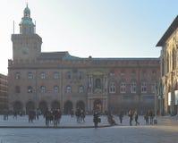 Piazza Maggiore with Palazzo dei Notai in Bologna royalty free stock images