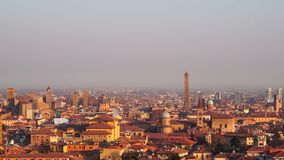 Bologna, Italy 07 January 2019: View of Bologna downtown during a sunny day stock footage