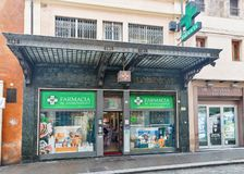 Pharmacy SS. Annunziata facade in Bologna, Italy