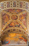 BOLOGNA, ITALY - MARCH 15, 2014: Ceiling part of presbyter of Dom or Saint Peters baroque church Royalty Free Stock Photo