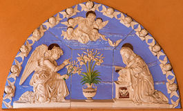BOLOGNA, ITALY - MARCH 15, 2014: Ceramic relief of Annunciation scene on the house Stock Photography