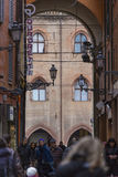 BOLOGNA, ITALY - 05 MARCH, 2016:General view of the downtown streets. Bologna is the largest city (and the capital) of the Emilia. Romagna Region in Italy royalty free stock photos