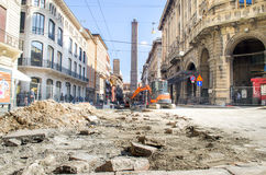 Bologna, Italy - March 7, 2015: Road yards in the Bologna inner Stock Photography