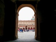 Entering Piazza Maggiore, Bologna, Italy royalty free stock photography