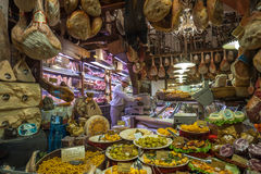 BOLOGNA, ITALY - March 8, 2014: Window of grocery shop in Bologna Royalty Free Stock Images