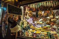 BOLOGNA, ITALY - March 8, 2014: Window of typical grocery shop Stock Images