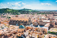 Bologna. Italy-May 17,2014:panorama of  view from the famous Asinelli tower located in the centre of the city.You can see the dome of St. Petronio and the Royalty Free Stock Photo