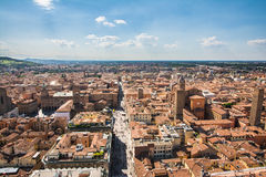 Bologna. Italy-May 17,2014:panorama of  view from the famous Asinelli tower located in the centre of the city.You can see the dome of St. Petronio and the Stock Image