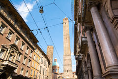 Bologna. Italy-May 17,2014:picturesque view of the famous two towers of  During a sunny day Stock Photo