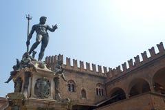 Bologna (Italy) Neptune's bronze statue Stock Photos