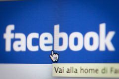 Bologna, Italy - November 26, 2013: The Social Network Facebok i Stock Photography