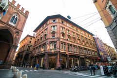 BOLOGNA, ITALY - October, 2017: General view city streets and medieval centre of Bologna. Italy Stock Image