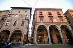 BOLOGNA, ITALY - October, 2017: General view city streets and medieval centre of Bologna. Italy Royalty Free Stock Photos