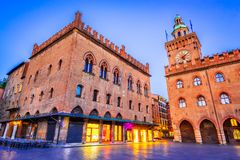 Bologna, Italy - Palazzo Comunale in Piazza Maggiore royalty free stock photography