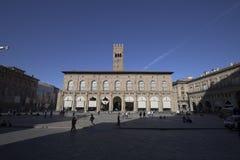 Bologna, Italy, people in piazza Maggiore, central square of the city. Bologna, Italy, people in piazza Maggiore, city central square stock photo
