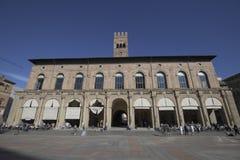 Bologna, Italy, people in piazza Maggiore, central square of the city. Bologna, Italy, people in piazza Maggiore, city central square stock image
