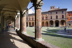 Bologna, Italy. Santo Stefano square and an archways in Bologna. Italy Royalty Free Stock Photos