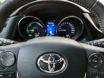 Toyota steering wheel controls and car dashboard Stock Image