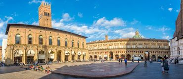 Panoramic view at the Maggiore place with Palaces Podesta and Re Enzo in Bologna - Italy. BOLOGNA,ITALY - SEPTEMBER 24,2018 - Panoramic view at the Maggiore stock photography