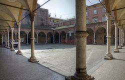 Bologna, Italy. Square and an archways in Bologna. Italy Royalty Free Stock Photography
