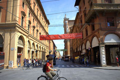 Bologna Italy. Street view of Bologna city center,Via dell' Indipendenza, Italy Royalty Free Stock Photo