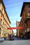 Bologna Italy. Street view of Bologna city center,Via dell' Indipendenza, Italy Stock Photos