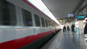 Bologna - January 2015 Arrival of high-speed train. White Arrow to the station in Bologna, Italy stock footage