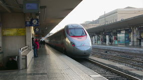 Bologna - January 2015: Departure of high-speed train. Bologna - January 2015 Departure of high-speed train White Arrow from the train station in Bologna, Italy stock video
