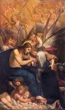 Bologna - Jesus och st Catherine av Siena av Francesco Brizzi (1591 - 1666) på sidoaltaret i kyrkliga Chiesa Royaltyfria Foton