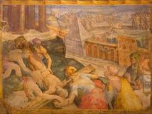 Bologna - korsfästelse av den St Peter freskomålningen i kyrkliga San Michele Royaltyfri Fotografi