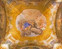 Bologna - kupol i kyrkliga San Michele i Bosco. Arkivbilder