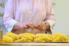 Bologna, laboratory of fresh pasta Stock Images