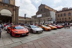 Bologna, Lamborghini anniversary 50th. Mega parade in Bologna, for Lamborghini anniversary 50th Royalty Free Stock Photos