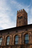 Bologna Landmark. The Palazzo del Podesta and the tower of King Enzo Palace background(Bologna royalty free stock images