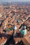 Bologna - Look down from Torre Asinelli to church of st. Bartolomeo Stock Images