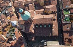 Bologna - Look down from Torre Asinelli to church of st. Bartolomeo Royalty Free Stock Photo