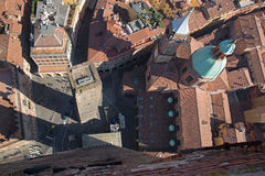 Bologna - Look down from Torre Asinelli Stock Images