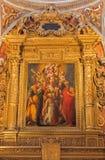 Bologna - Madonna con i san in Oratorio de Batutti Immagine Stock Libera da Diritti