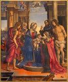 Bologna - Madonna och helgon av Filippino Lippi (1501) i kyrkliga Chiesa di San Domneico - den St Dominic kyrkan Fotografering för Bildbyråer
