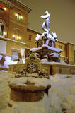 Bologna main square and Neptune fountain after the heavy snowfall of 2012 royalty free stock images