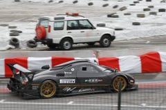 Race car on race course Stock Photo
