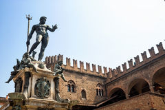 Bologna: Neptune's bronze statue and historic palace Stock Images