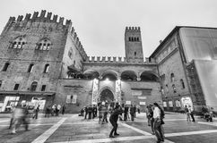 BOLOGNA - OCTOBER 21, 2014: Tourists in city center at night. Bo Royalty Free Stock Photography